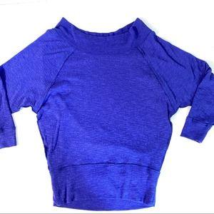 We The Free Boatneck Bat Sleeve Blue Top